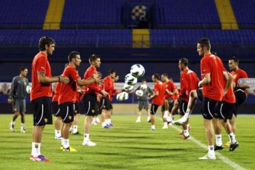 The Macedonian players during Thursday's training; photo: mkd.mk