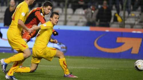 The shot by Eden Hazard that led to the lone goal; photo: sporza.be