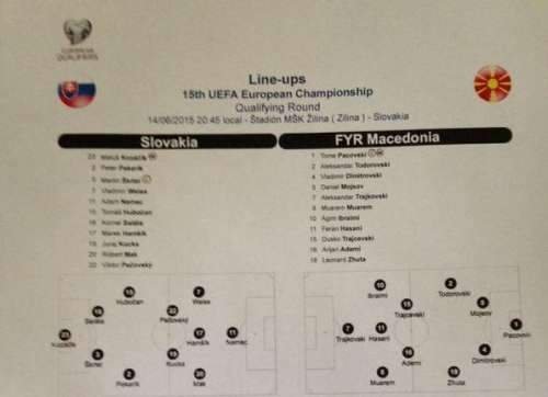 Lineups for the match