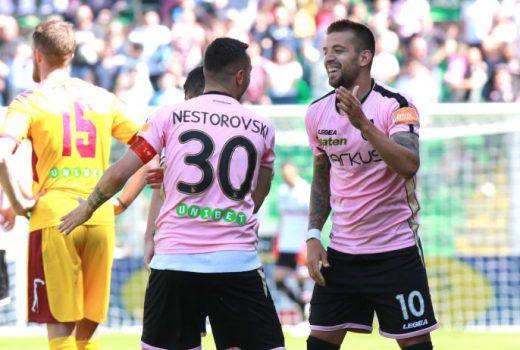 Nestorovski and Trajkovski celebrate against Cittadella