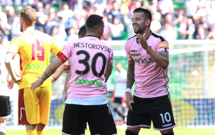 Nestorovski and Trajkovski celebrate against Cittadella