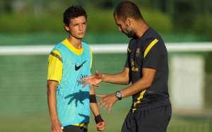 David Babunski and former Barça manager Pep Guardiola
